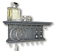 Jewelry Organizer Necklace Bracelet Holder Hanger Rustic Wall Mounted Gray 12""