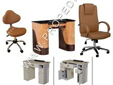 Manicure Nail marble table + Technician stool and Guest chair Spa Pedicure