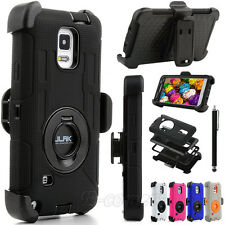 Rugged Hybrid Impact Hard Case Soft Cover Clip Holster For Samsung Galaxy Note 4