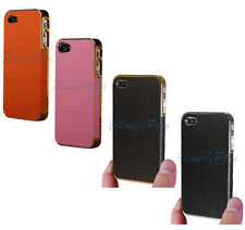 Luxury Deluxe Chrome Genuine Leather Hard Case Cover For Apple iPhone 4S 4 4G