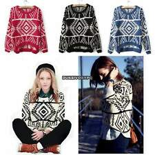 Women Knitted Geometric Casual Loose Pullover Thick Sweater Outwear Tops DKVP