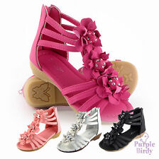 NEW Girls Flower Sandals Children Infant size Summer Party Shoe Pink White Black