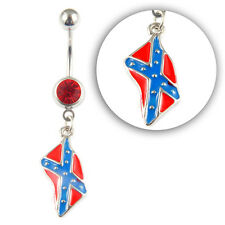 New Rebel Confederate Flag Southern Dangle Belly Stars & Bars Navel Ring
