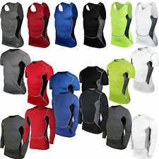 Mens Body Armour Compression Workout Base Under Layer Tops Vests Stretch T Shirt