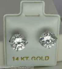 4.00 carats round ideal cut man made Diamond stud Earrings Solid 14k white gold