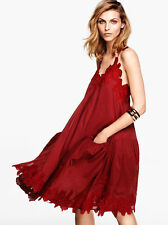 H&M Trend Burgundy Red Wide Cotton Lace Embroidery Dress UK 6 8 EU 32 34 US 2 4