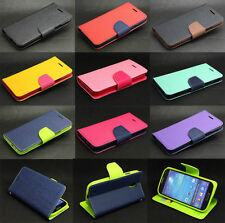 Dual Color Wallet Flip Leather + TPU Magnetic Case Cover For Various Cell Phone