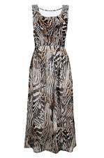 EX BRANDED JOHN ROCHA ZEBRA PRINTED SLEEVELESS EMBELLISHED BROWN MAXI DRESS