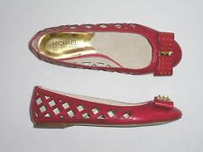 NEW MSRP $150 MICHAEL Michael Kors Larissa BALLET FLAT with Studded Bow, Red  *