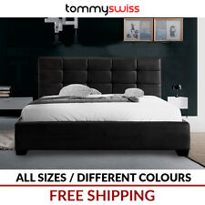 TOMMY SWISS: DELUXE King, Queen & Double Size PU Leather Bed Frame - Black White