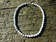 White Howlite Natural Gemstone Necklace 8mm Beaded Silver 16-30inch Healing