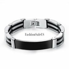 Silver Tone Stainless Steel Clasp Black Silicone Rubber Men's Bracelet Bangle