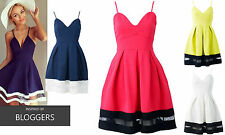 NEW WOMENS LADIES CELEB LOOK MESH PANEL FLARED PLEATED SKIRT CAMI SKATER DRESS