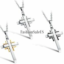 Stainless Steel Multi Cross Pendant Men's Women's Unisex Retro Necklace Chain