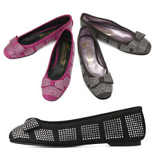 New Womens Comfort Flat Shiny Ribbon Loafers Ballet Shoes Multi Colored Nova