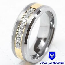 Mens Tungsten Ring Diamond Inlay Center Brushed Wedding Band Jewelry Size 8-14