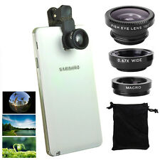 3in1 Fish Eye+Wide Angle+Macro Camera Clip-on Lens for Samsung S6/5/Edge Note4/3