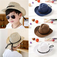 Kids Children Girls Boys Unisex Bead Holow Out Straw Cowboy Cap Sun Hat