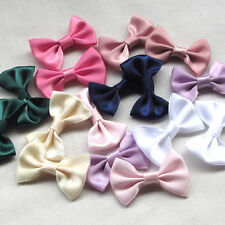 Upick 40pcs Stain Ribbon Bows Flowers Sewing Appliques Wedding Decor DIY Crafts