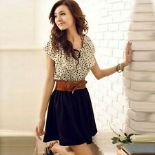 2015 Fashion Women Summer Short Sleeve Chiffon Dots Polka Waist Mini Dress+Belts