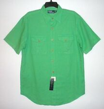 NWT $89.50 - Men's POLO by RALPH LAUREN Linen Cotton Short Sleeve Shirt, GREEN