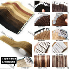 "18"" PU Seamless Skin Tape in Remy Real Human Hair Extensions Straight 40g 20PCS"