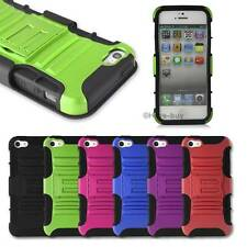 Hard Soft Hybrid Case cover with stand + belt clip holster for iphone 4 4S 5 5S