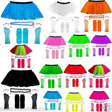 NEW KIDS ADULTS NEON UV 1980s GIRLS FANCY DRESS HEN TUTU PARTY COMPLETE SET 8 16