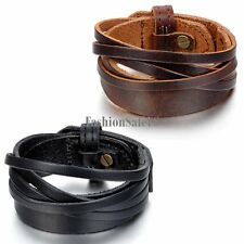 Multilayer Genuine Leather Alloy Unisex Adjustable Bracelet Wristband Bangle