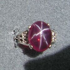 14X11MM 6+CT LINDE LINDY RED STAR SAPPHIRE CREATED RUBY SECOND Q RING .925 SS