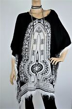 Velzera Dashiki Print Hi Lo Fringe Kimono Long Tunic Top-Black & White-One Size