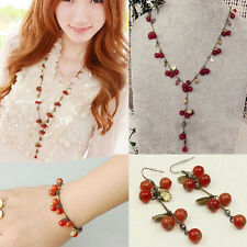 Chic Sweet Cherry Red Beads Leaf Necklace/Bracelet/Earring Long Sweater Chain YX