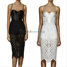 Summer Sexy Ladies Lace Hollow Crochet Patach Bodycon Evening Party Pencil Dress