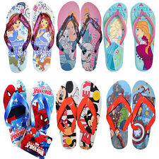 Childrens Kids Disney Frozen Mickey Sofia Cinderella Spiderman Avenger Flip Flop