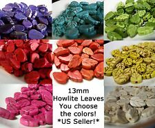 Leaf Beads 13mm Flat Carved Howlite Magnesite Turquoise YOU PICK colors