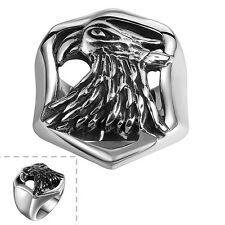 Men's 316l Stainless Steel Black Silver Owl Wide Shield Retro Ring Rock Jewelry