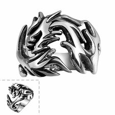 Men's 316l Stainless Titanium Steel Dragon Claw Vintage Punk Ring Gothic Jewelry