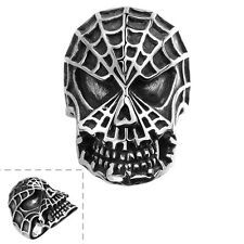 Mens Fancy Black Stainless Steel Spider-Man Skull Punk Retro Ring Gothic Jewelry