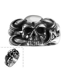 Men's 316 Stainless Steel Black Silver Skull Vintage Gothic Ring Fashion Jewelry