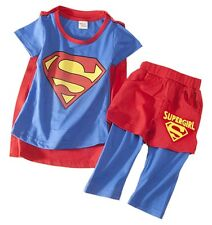 Baby Kids Girl Supergirl T-shirt, Pant and Cape 3-piece Costume Outfit