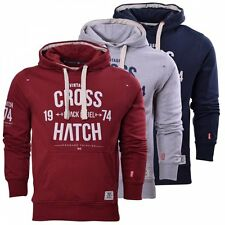Crosshatch Mens Designer Casual Hooded Logo Top Hoody Fleece Sweatshirt Jacket