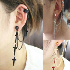 1pc Lovely Rock Punk Crosses Tassel Chain Ear Wrap Cuff Stud Clip Earring