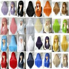 New Fashion 80cm Long Straight Cosplay Wig Multicolor heat resistant Full Wigs