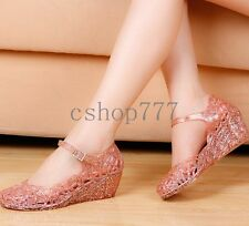 New Womens Breathable Crystal Shoes Jelly Hollow Sandals Wedge Casual Shoes Size