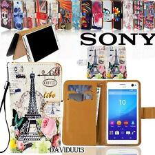 Folio Flip Wallet Card Stand PU Leather Case Cover For Various Sony Xperia Phone