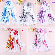 New Women Chiffon Silk Flower Long Soft Neck Scarf Shawl Wrap Scarves Stole 072d