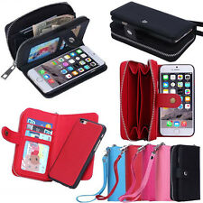 PU Leather Wristlet Clutch Cash Clutch Wallet Card Slot Case For iPhone Samsung