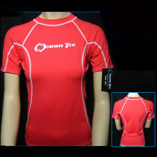 Womens Rashguard Pink Short Sleeve Sun Shirts Uv Surf Swim Lycra Top Swimwear !!
