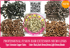 Pre Bonded Remy Human Hair Keratin Fusion Extensions Micro Ring Copper Tube Link