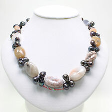 A HANDCRAFTED BLACK BAROQUE PEARL AND AGATE NECKLACE 925 SILVER LOBSTER CLASP